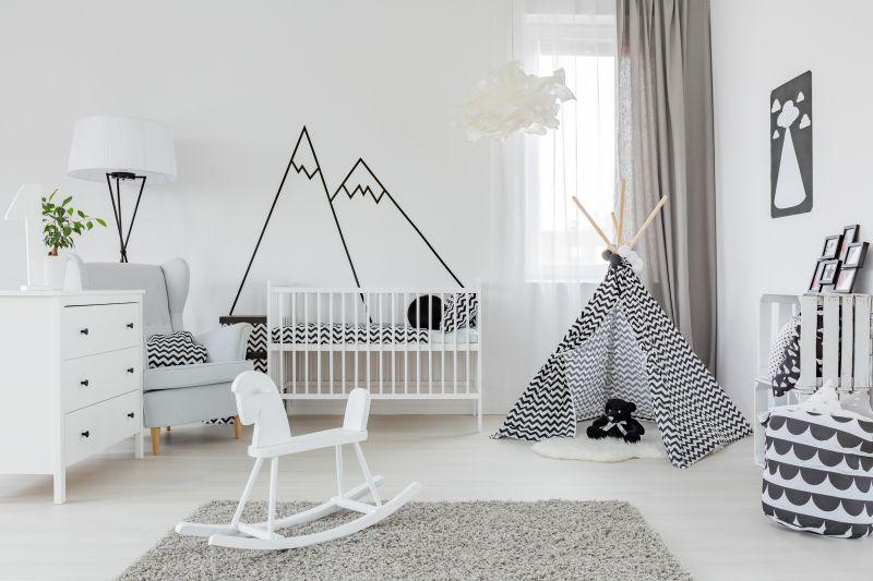 Sivo-biela kombinácia v detskej izbe