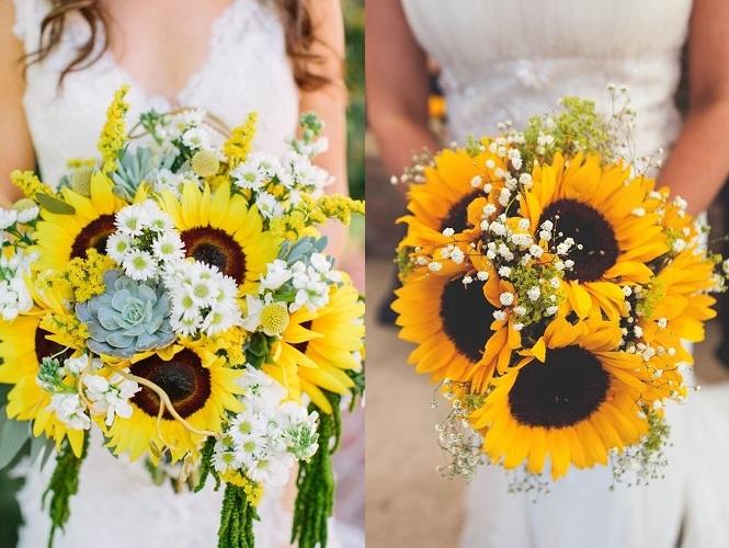 Svadobná kytica a slnečnice